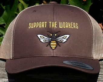 SUPPORT THE WORKERS Honeybee Trucker Hat in Brown & Tan