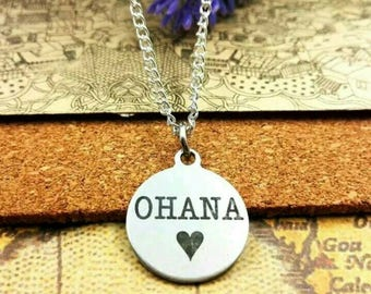 Disney Inspired Lilo and Stitch Ohana Means Family Necklace