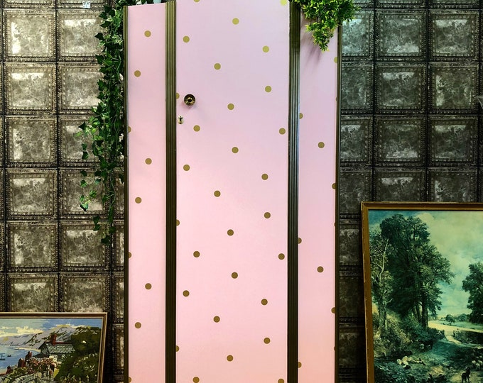 Pink and gold polka dot wardrobe