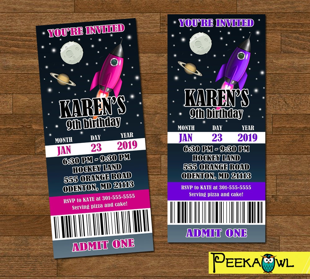 Space Invitation ticket Girls Space Birthday Invitation
