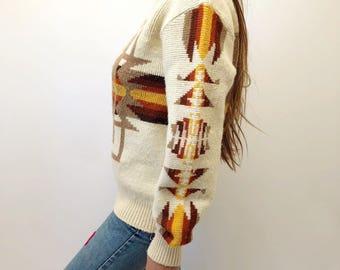 Mohawk Bend Sweater // vintage 70s blouse boho hippie hipster dress top hippy 1970s tunic space dye white brown orange  southwestern // O/S