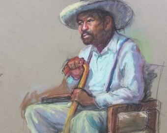 Pastel portrait of Joe with his cane