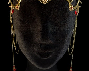 Antlers Diadem - Faun - Forest Goddess - Wiccan - Pagan - Nymph - Red - Circlet - Woodland - Mythical - Headdress - Mother Nature - Bronze