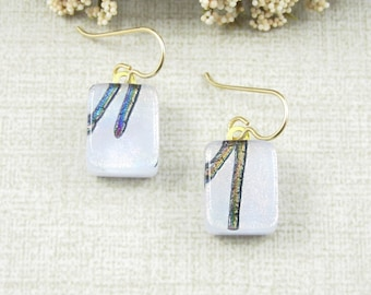 Small Lavender Hanging Earrings - Fused Dichroic Glass Drop Earrings - Pale Purple Fused Glass Earrings with Gold Filled Earwire