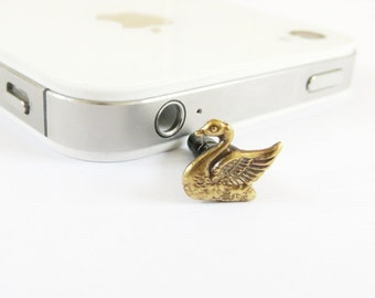 Swan Cell & iPhone Dust Plug Cellphone Charm Brass