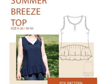 Tunic sewing pattern, Women's Ruffle tunic PDF sewing pattern Ruffle tunic PDF sewing pattern for women Womens summer tunic sewing pattern
