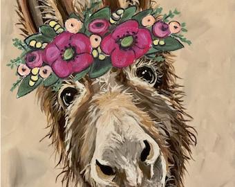Cute Donkey art prints. Donkey flower crown art, donkey prints, funny donkey art, farmhouse art print,  farmhouse art, flower crown art