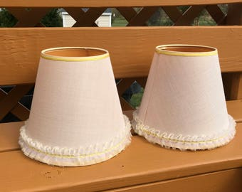 Vintage Pair of Creamy White Lace Ruffled  Clip On Lamp Shades with Yellow Trim  Shabby Chic Boho Style Shade Boudoir