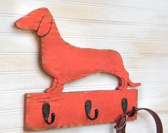 Dachshund Leash Hook Dog Leash Hook Rack Wiener Dog Gift Doxie Gift Sausage Dog Leash Hanger Wiener Dog Gift Hot Dog Key Holder  Dog Lover