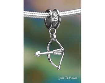 Sterling Silver Bow and Arrow Charm or European Style Charm Bracelet