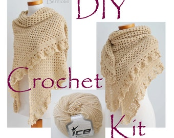 DIY Crochet Kit, Crochet shawl kit, ASHLEY, Beige, yarn and pattern