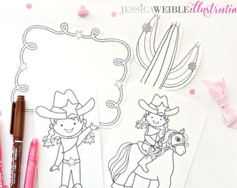 Cowgirl Up Cute Digital Stamps, Cowgirl Line Art, Digital Stamp - Instant Download - Cute Cowgirl Stamps