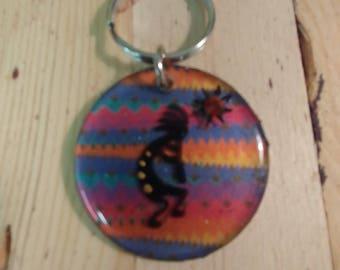 Southwest Kokopelli Key Ring Hand Painted KR005