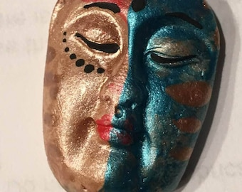 Handmade clay face blue  buddha head cabochon mosaic tile woman lady craft supplies  handmade cabochon  mosaics dolls jewelry craft parts