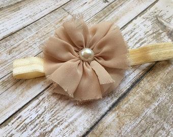 Shabby Chiffon Flower Infant Stretch Headband Set-Shabby Chic-Red-Ivory/Tan/Cream Chiffon Flower with Pearl Center-Baby Headband