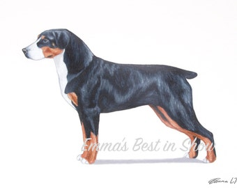 Entlebucher Mountain Dog - Archival Quality Fine Art Print - AKC Best in Show Champion - Breed Standard - Herding Group - Original Art Print
