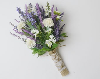 Small Wildflower Bouquet, Lavender Bouquet, Boho Wedding Bouquet, Wildflower Bouquet, Wildflower Wedding Bouquet, Silk Wildflower Bouquet