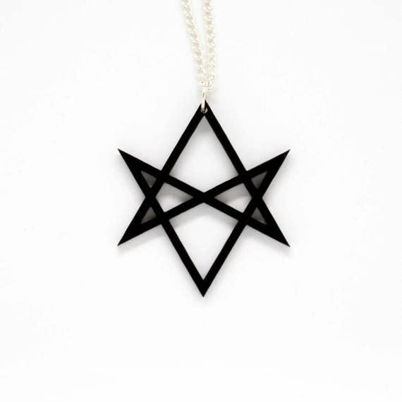 Black small unicursal hexagram acrylic pendant on silver mozeypictures Images