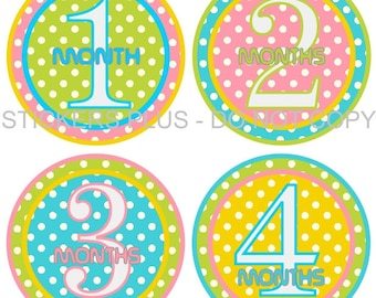 Baby Month Stickers Girl Plus FREE Gift Monthly Milestone Stickers Bright Dots II Pink Green Blue Yellow - Fast Ship 1-12 M