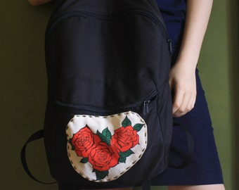 Hand Painted and Stitched Roses Backpack