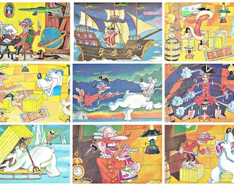 The Adventures of Baron Munchausen. Accurate Shot. Set of 15  Soviet Postcards.  Illustrations by Lerner. 1989