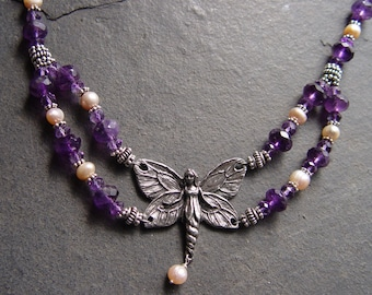 Amethyst Fairy - Genuine Amethyst, Pearl and Sterling Silver with Faery Fairy Connector Handmade Necklace