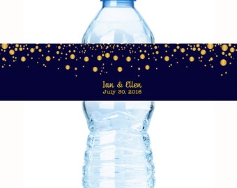 Wedding Water Bottle Labels, Personalized Water Bottle Labels, 30 Gold Confetti on Navy Wedding Water Bottle Labels, Wedding Welcome Bags