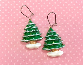 Huge Decorated Christmas Tree Novelty Earrings with Surgical Steel Ear Wires