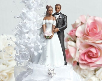 Pearl Side Arch Classic African American Cake Topper - Custom Painted Hair Color Available - 100912