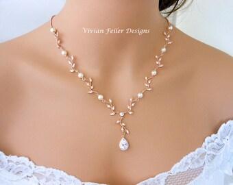 Wedding necklace etsy wedding necklace pearl rose gold y bridal vine leaf backdrop cubic zirconia maid of honor mother junglespirit Images