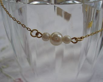 Gold Chain Anklet with Pearl Beads