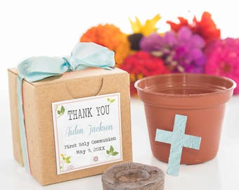 Mini Seed Paper Cross Garden Kit Party Favor Gift - Customized & Personalized - Boy or Girl Baptism Christening - Flower, Herb, or Tree Seed