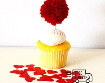 12 Really Red Pom Pom Cupcake Topper Party Decorations