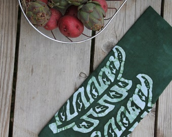 forest green seedlings linen towel
