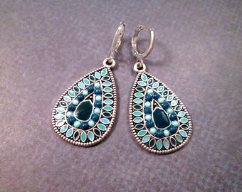 Silver Drop Earrings, Blue Enamel Lacquer Dangle Earrings, FREE Shipping U.S.