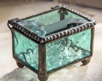 Ring Box Aquamarine Blue Stained Glass Keepsake Box Decorative Trinket Box Jewelry Storage Ring Bearer Box Wedding Engagement Ring Box 325-3