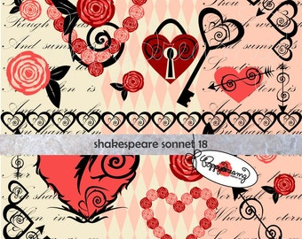 Shakespeare Sonnet 18: Digital Scrapbook Paper & Clipart Set (300 dpi) Wedding Bridal Shower Floral Heart Valentine Skeleton Key