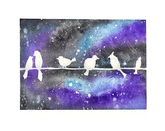 Galaxy Birds Print