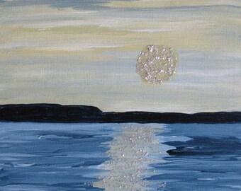Mixed Media Seascape Painting Original Art Birch Panel Massachusetts Art Kathleen Daughan Artist Western Ave Studios Art