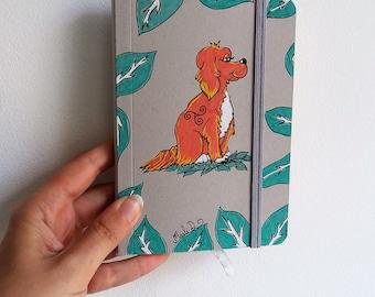 Carnet de notes, cahier moleskine, cahier chien, carnet chien, chien, triskel, illustration chien, dessin chien, celtique, carnet A6, vert
