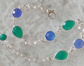 Green Onyx, Blue Onyx, Clear Quartz and Sterling Silver Bracelet