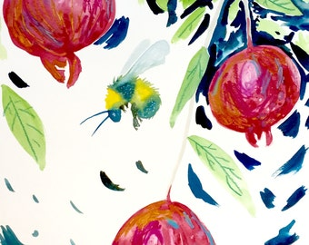 """Bee Watercolor Painting, Pomegranates, Giclee Print, 8""""x10"""""""