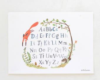 Woodland nursery, forest art, Quick Red Fox Alphabet, giclée print, Kit Chase artwork, 5x7, 8x10, 11x14
