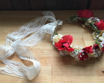 Faux handmade Poppy flower crown with lace ribbon
