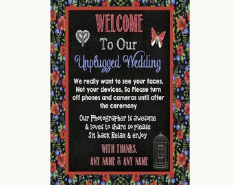 Floral Chalk No Phone Camera Unplugged Personalised Wedding Sign