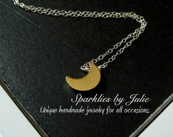 Crescent Moon Necklace - Gold or Silver Plated Moon Charm on Sterling Silver or Gold Filled, Two Tone Necklace, Stand Alone or Layer