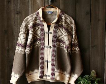 Wool Cardigan Sweater Made in New Zealand Scan Alp Geometric Tribal Womens Tan With White Vintage Made New Zealand Vintage From Nowvintage
