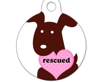 Pet ID Tag - Rescued Brown Pup with Heart Pet Tag, Dog Tag, Luggage Tag