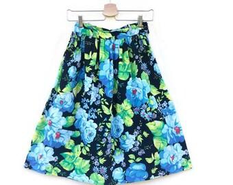 Vintage Floral skirt years 80 high waist