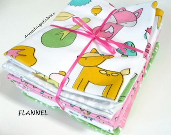 Baby Girl Flannel Fat Quarter Bundle, Woodland Animals, Maywood Studio Babe in the Woods, Flannel Quilt Fabric Bundle of 7 FQ, Cotton